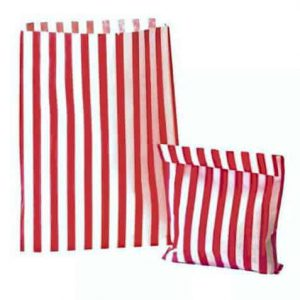 Red & White Striped Paper Bags – 20 Bags